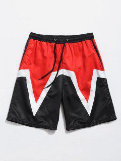 Three-pocket Elastic Waist Beach Shorts - Fire Engine Red L