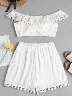 Pom Pom Top Shorts Two Piece Matching Set - White M
