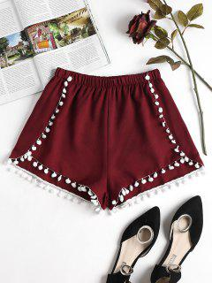 Pompoms Hem Shorts - Red Wine L