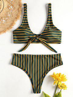 Bandeau Striped Bikini Set - Medium Sea Green L
