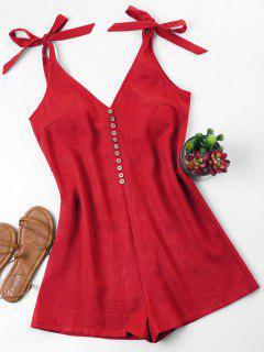 Tie Strap Romper - Lava Red L