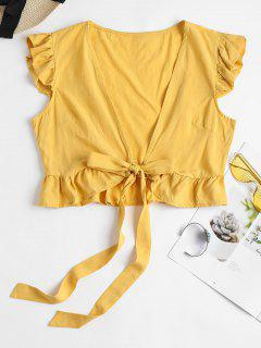 Ruffle Tie Front Crop Top - Goldenrod M