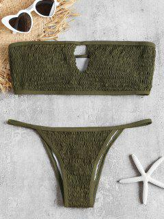 Keyhole Smocked Bandeau Bikini Set - Army Green L