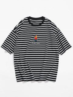 Camiseta Stripe Drop Shoulder - Negro M