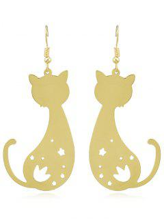 Cat Shaped Star Hollow Out Hanging Earrings - Gold