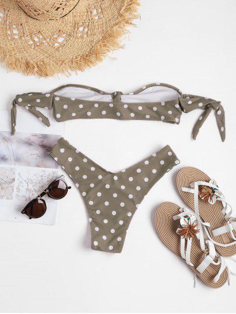 ladies Polka Dot Knot Bralette Bikini - LIGHT KHAKI L Mobile