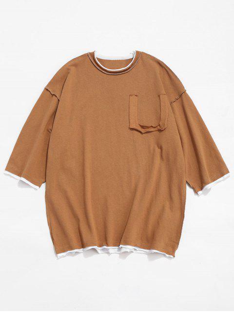 Panel Camiseta de algodón con hombros descubiertos - Marrón M Mobile