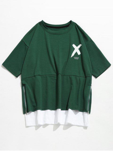 Strassenmode Buchstabe Seitlicher Reißverschluss T-Shirt - Mittlerer Wald Grün XL Mobile