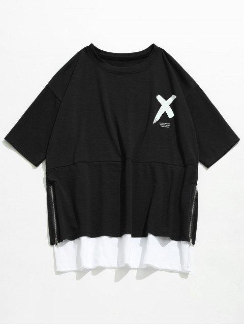 Streetwear Letter Side Zipper T-shirt - Negro 2XL Mobile