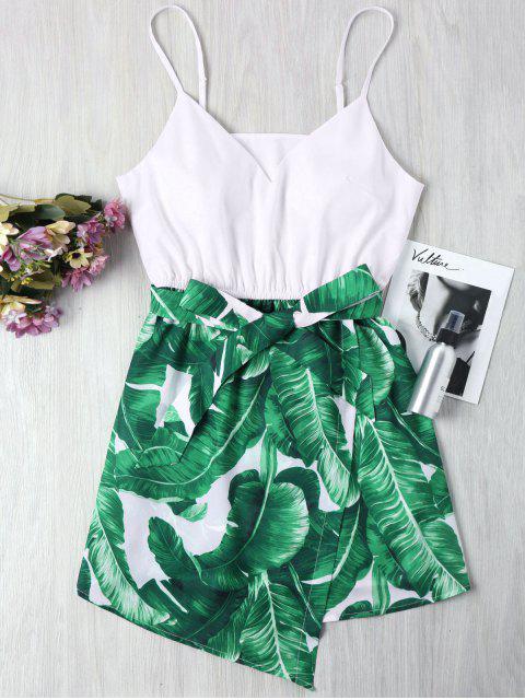 women Palm Leaf Cami Dress - GREEN S Mobile