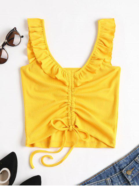 outfits Cinched Ruffles Tank Top - RUBBER DUCKY YELLOW S Mobile