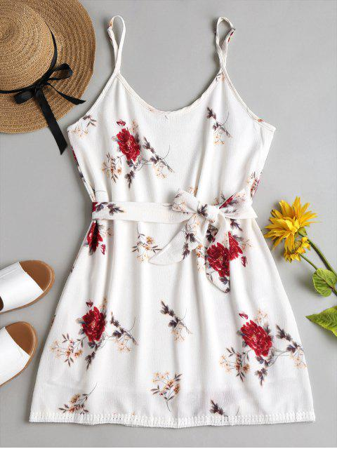lady Floral Print Cami Mini Sun Dress - WHITE S Mobile