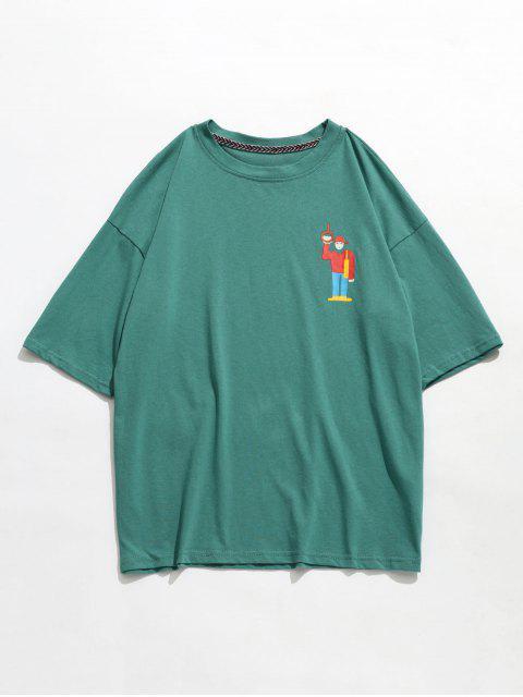 womens Little Cartoon Dropped Shoulder T-shirt - PINE GREEN M Mobile