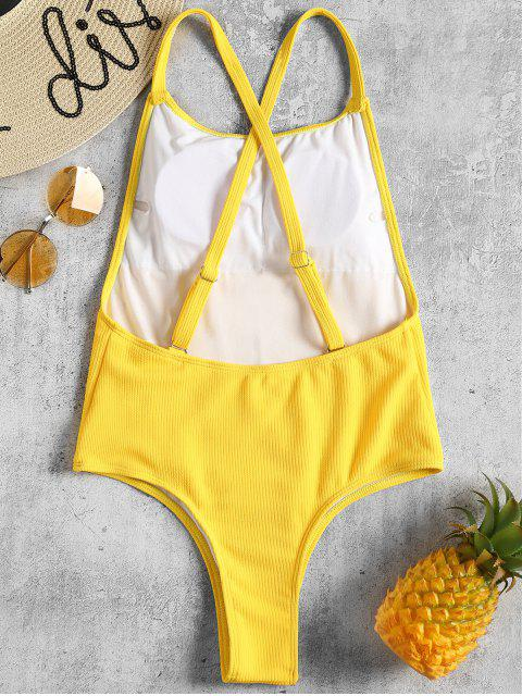 chic Ribbed Convertible High Cut Swimsuit - BRIGHT YELLOW L Mobile