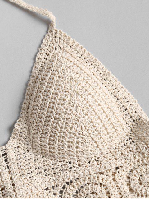 Top Curto Bralette Acolchoado com Crochê Cortado - Bege Um Tamanho Mobile