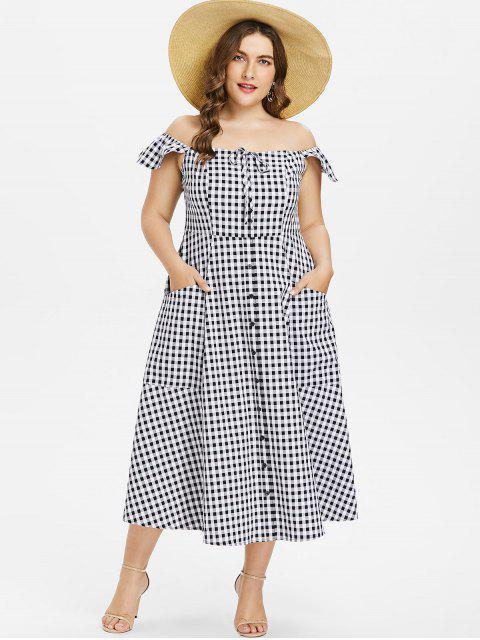 Plus Größes Gingham Schulterfreies Kleid - Schwarz L Mobile