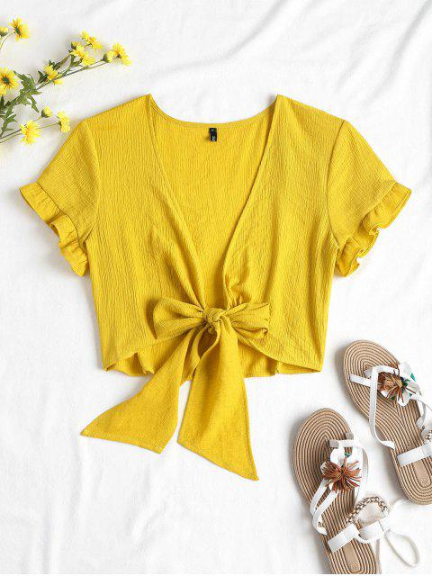 women's Plunging Neck Crop Tied Hem Blouse - MUSTARD L Mobile