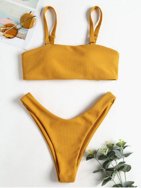 Gerippter Bandeau Hohes Bein Bikini Set - Goldgelb S Mobile