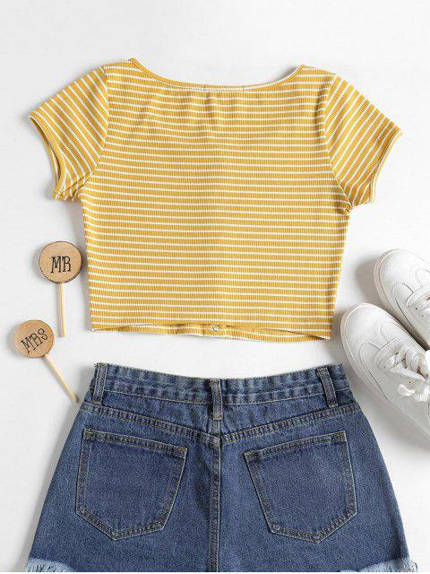 women Striped Ribbed Crop Top - YELLOW L Mobile
