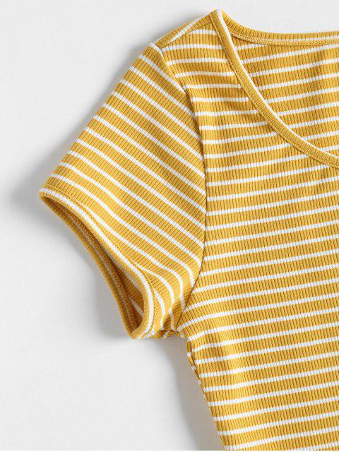 womens Striped Ribbed Crop Top - YELLOW M Mobile