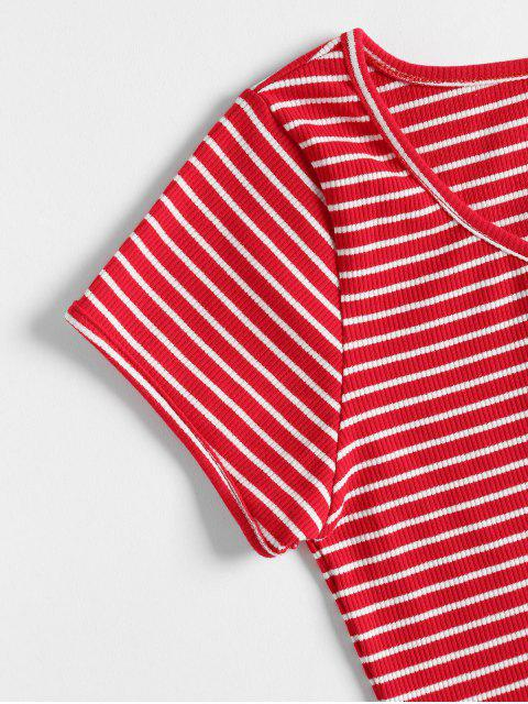 lady Striped Ribbed Crop Top - LOVE RED M Mobile