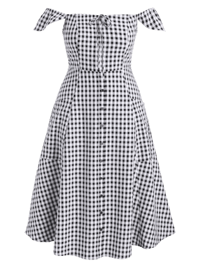 Plus Size Gingham Off Shoulder Dress