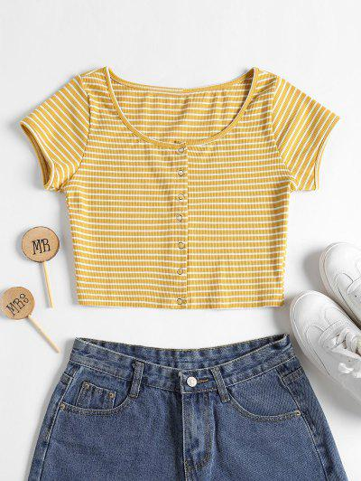 Striped Ribbed Crop Top - Yellow S