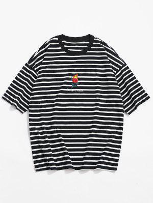 Streifen Drop Schulter T-Shirt