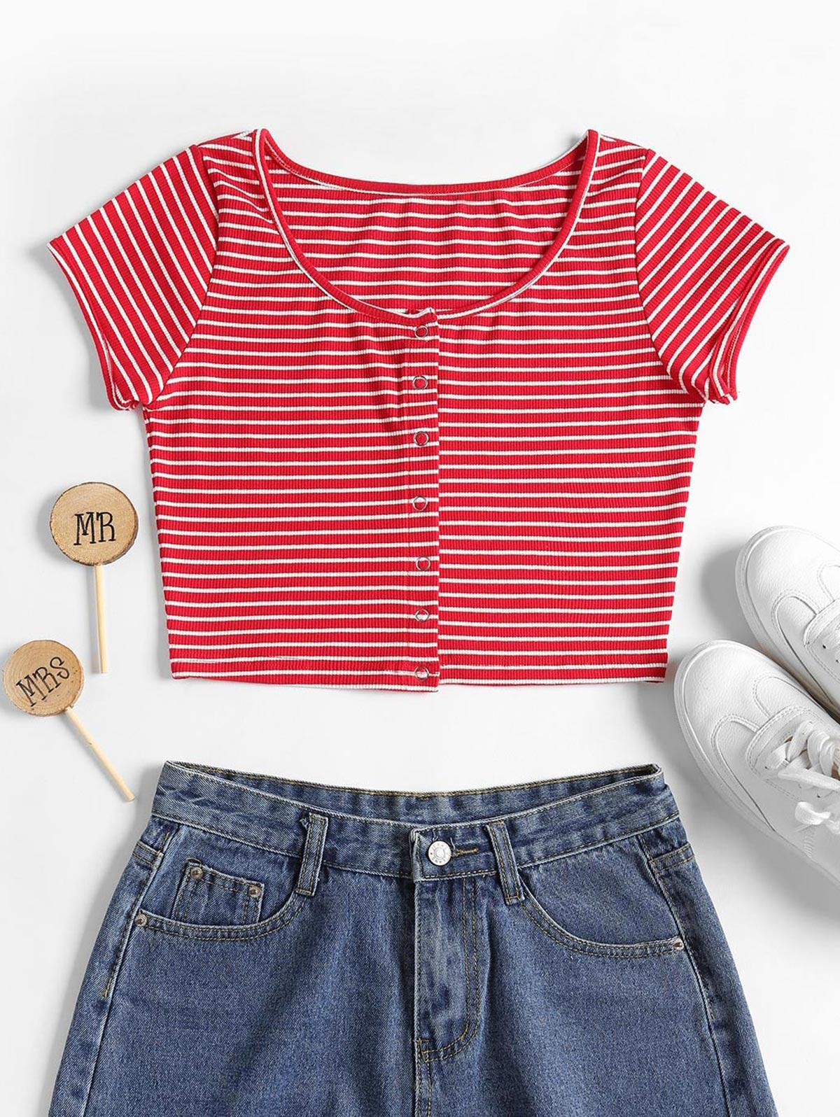 Striped Ribbed Crop Top thumbnail