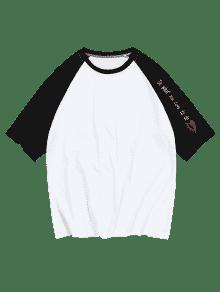 Letras De Manga 225;n Con Ragl Con Contrastar Blanco Camiseta 2xl 6A70cqIwW6