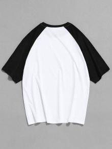225;n Con Letras Manga Camiseta Ragl Con Blanco 2xl De Contrastar qfd1dtBxR
