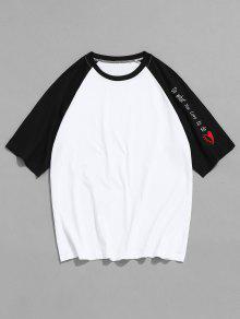 تباين الحروف راجلان كم القميص - أبيض M