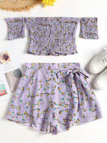 Smocked Top Shorts قطعتين مجموعة - أزرق لافندر M