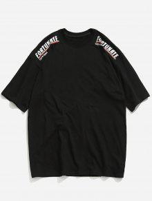Estampada Hombros Xl Con Ca 237;dos Negro Camiseta w6OvqTd6