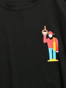 Little Camiseta M Negro Dropped Shoulder Cartoon rqwvzx8r