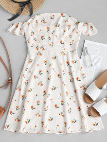 قبالة الكتف فستان زهري ألف خط - الأبيض الدافئ M