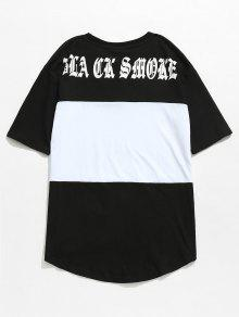 Negro Estampado Letras En 2xl De Block Color Camiseta Con qCx0w5B