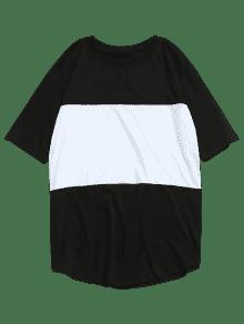 Camiseta Color En De Estampado Block Letras 2xl Con Negro vgwqUrv