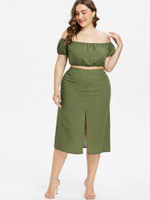 bbfa29eea10c 40% OFF  2019 Off Shoulder Plus Size Two Piece Dress In HAZEL GREEN ...