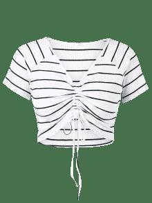 Cuello Blanco Grande Camiseta Redondo Pliegue Talla Con L Y 01Fqwq5TpO