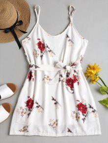 الأزهار طباعة كامي البسيطة فستان الشمس - أبيض M