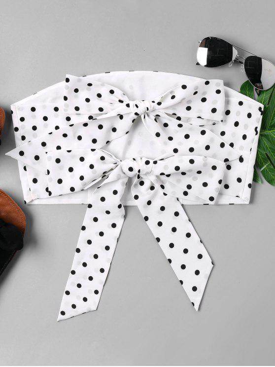 fancy Polka Dot Strapless Top - WHITE L
