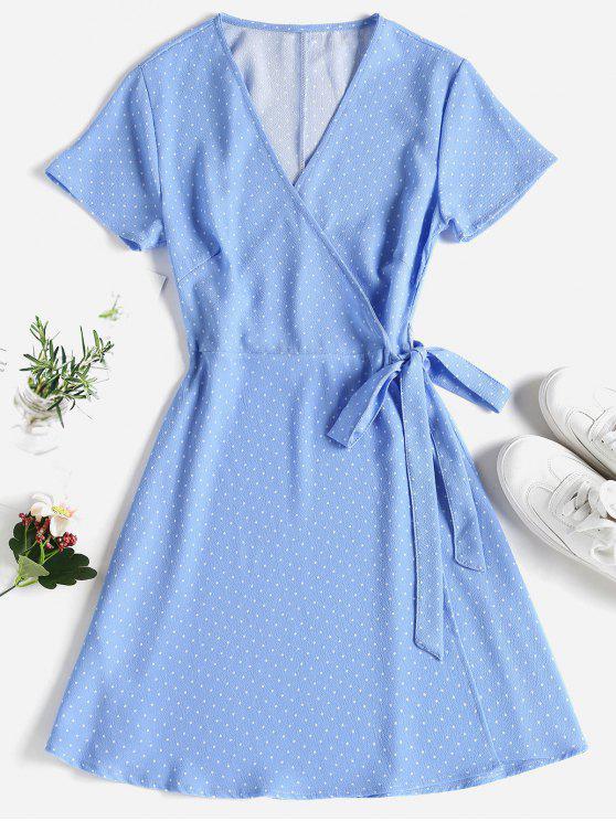 hot Polka Dot Mini Wrap Dress - SKY BLUE S