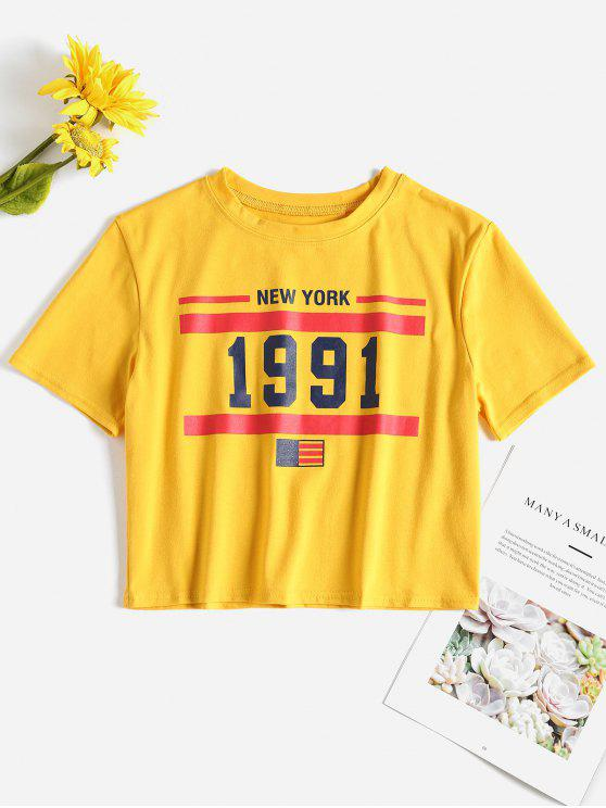 trendy American Flag Patriotic Crop Tee - RUBBER DUCKY YELLOW L