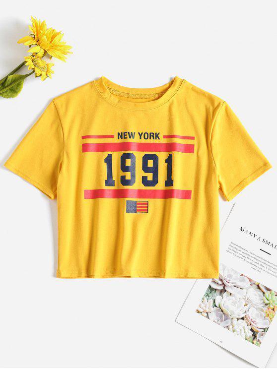 T-shirt Court à Drapeau Américain - Jaune Canard Caoutchouc L