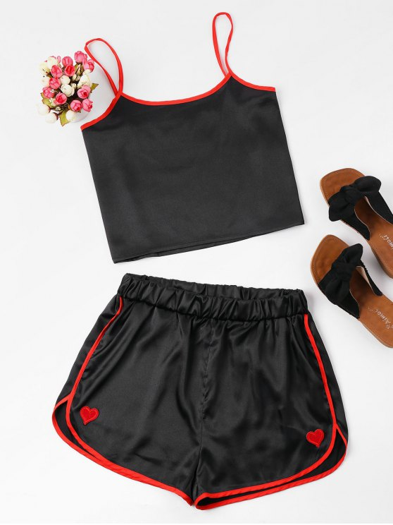 fancy Contrast Cami And Dolphin Shorts Set - BLACK L