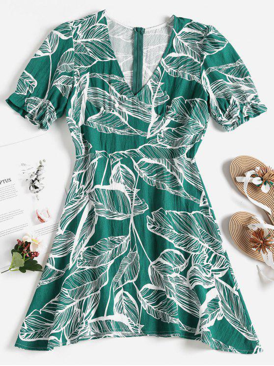 affordable Palm Leaf Print Mini Skater Dress - MEDIUM AQUAMARINE S