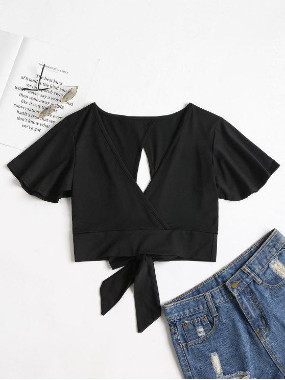 best Knotted Cut Out Top - BLACK XL