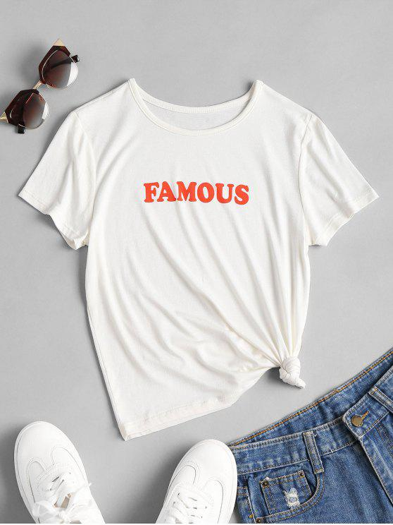 Camiseta estampada estampada famosa - Blanco S