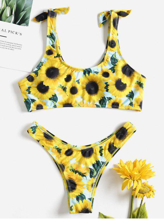 women's Sunflower Knot Bikini - YELLOW M